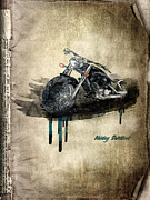 Transportation Mixed Media Metal Prints - Harley Davidson Metal Print by Svetlana Sewell