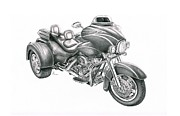 Bike Drawings - Harley Davidson Trike by Murphy Elliott