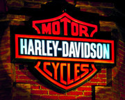 Davidson Prints - Harley Downtown Vegas Print by Andy Smy
