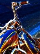 Wings Domain Digital Art Prints - Harley Electrified Print by Wingsdomain Art and Photography