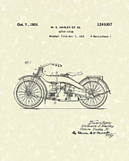 Harley Davidson Framed Prints - Harley Motorcycle 1924 Patent Art Framed Print by Prior Art Design