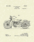 Patent Artwork Drawings Metal Prints - Harley Motorcycle 1928 Patent Art Metal Print by Prior Art Design