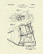 Patent Art Drawings Framed Prints - Harley Motorcycle 1938 Patent Art Framed Print by Prior Art Design