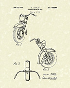 Motorcycle Drawings - Harley Motorcycle 1950 Patent Art by Prior Art Design