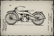 Patent Framed Prints - Harley Motorcycle Patent Framed Print by Bill Cannon
