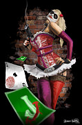Finger Metal Prints - Harley Quinn Metal Print by Brett Hardin