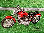 Kathy Marrs Chandler Art - Harley Red Sportster Motorcycle by Kathy Marrs Chandler