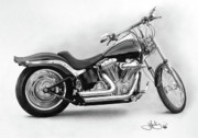 Chopper Drawings - Harley Softail study drawing by John Harding