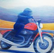 Racer Painting Framed Prints - Harley Sportster At Speed Framed Print by Brian  Commerford