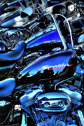 Sportster Photos - Harleys all in a Row by David Patterson