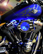 Harleys Twins Print by DigiArt Diaries by Vicky B Fuller