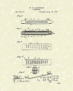 Antique Drawings - Harmonica Fairfield 1897 Patent Art by Prior Art Design