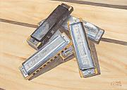 Harmonica Pile Print by Ken Powers