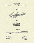 1887 Drawings Prints - Harmonica Stratton 1887 Patent Print by Prior Art Design