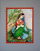 Lady Playing Flute Prints - Harmony Print by Harsh Malik