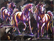 Horse Pastels Paintings - Harmony In Lavender by Dotty Fenner