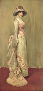 Gray Painting Posters - Harmony in Pink and Grey Lady Meaux Poster by James Abbott McNeill Whistler