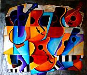 Violins Paintings - Harmony by Vel Verrept
