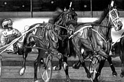Race Drawings Originals - Harness Race by Jerry Winick