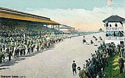 Grandstands Framed Prints - Harness Racetrack At The Sedalia Mo State Fair In 1915 Framed Print by Dwight Goss