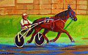 Quebec Paintings - Harness Racing At Bluebonnets by Carole Spandau