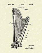 Angels Drawings - Harp 1931 Patent Art by Prior Art Design