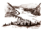 Sepia Ink Drawings - Harpers Ferry by Daniel Paul Murphy