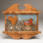 Folk Art Reliefs Prints - Harpooning the Whale Print by James Neill
