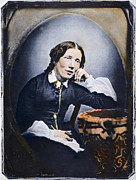 Abolition Metal Prints - HARRIET BEECHER STOWE (1811-1896). American abolitionist and writer. Oil over a daguerrotype, c1852 Metal Print by Granger