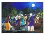 Slaves Painting Originals - Harriet Tubman-Hounds in the distance by Everna Taylor