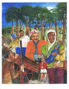 Slaves Paintings - Harriet Tubman-take the road only to twin forks by Everna Taylor