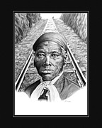 African-american Drawings - Harriet Tubman with digital mat by Elizabeth Scism