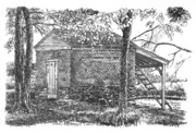 Pen And Ink Rural Framed Prints - Harris Homestead Smokehouse Framed Print by Peter Muzyka