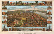 Vintage Map Digital Art Prints - Harrisburg Pennsylvania 1855 Print by Donna Leach