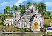 Religious Art Painting Originals - Harrisena Church by Sandie Keyser