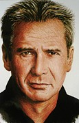 Movie Star Drawings Framed Prints - Harrison Ford Framed Print by Andrew Read