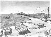 Pier Drawings - Harrisons Pier Ocean View by V E Delnore