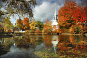 Fall Foliage Photos - Harrisville New Hampshire - New England Fall Landscape white steeple by Jon Holiday