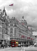 Union Jack Photos - Harrods of Knightsbridge bw hdr by David French