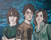 Hermione Paintings - Harry and His Crew by Julie Cranfill