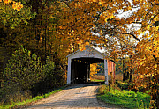 Indiana Autumn Posters - Harry Evans Bridge Parke County Indiana Poster by Marsha Williamson Mohr