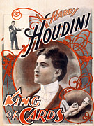 Playing Cards Framed Prints - Harry Houdini, King Of Cards Poster Framed Print by Everett