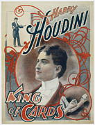Cards Vintage Painting Prints - Harry Houdini King of Cards Print by Unknown