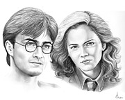 People Drawings - Harry Potter and Hermione by Murphy Elliott