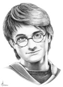 Famous People Drawings - Harry Potter by Murphy Elliott