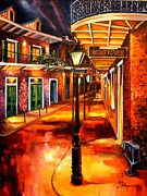 Night Lamp Painting Metal Prints - Harrys Corner New Orleans Metal Print by Diane Millsap