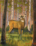 Wildlife Landscape Painting Prints - Hart of the Forest Print by Jeff Brimley