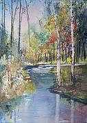 River Painting Originals - Hartman Creek Birches by Ryan Radke