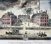 Harvard University Framed Prints - HARVARD COLLEGE, c1725 Framed Print by Granger