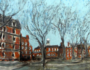 Student Painting Framed Prints - Harvard Yard Framed Print by Romina Diaz-Brarda